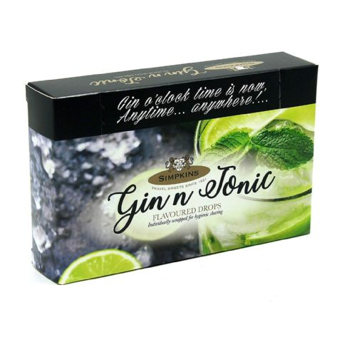 Gin & Tonic Flavoured Drops (Non-Alcoholic) - Simpkins Traditional Travel Sweets Gift Box 120g